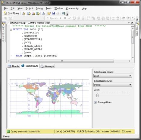 Отображение пространственных данных в SSMS